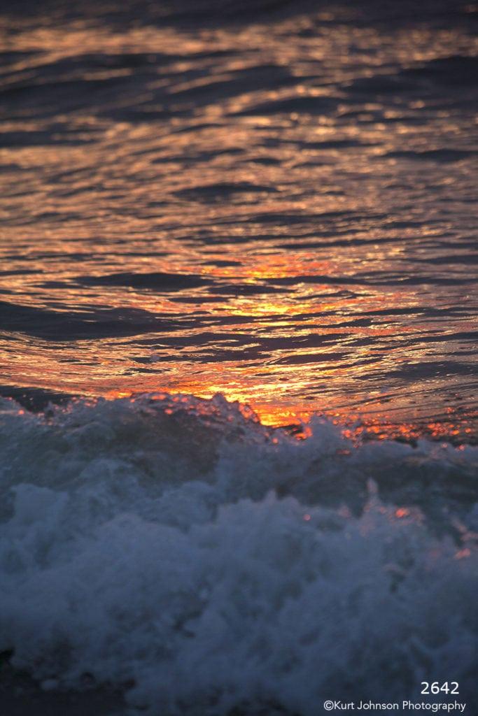 waves water texture sunset blue orange waterscape
