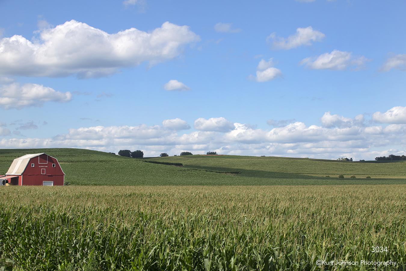 landscape field corn barn farm rural clouds