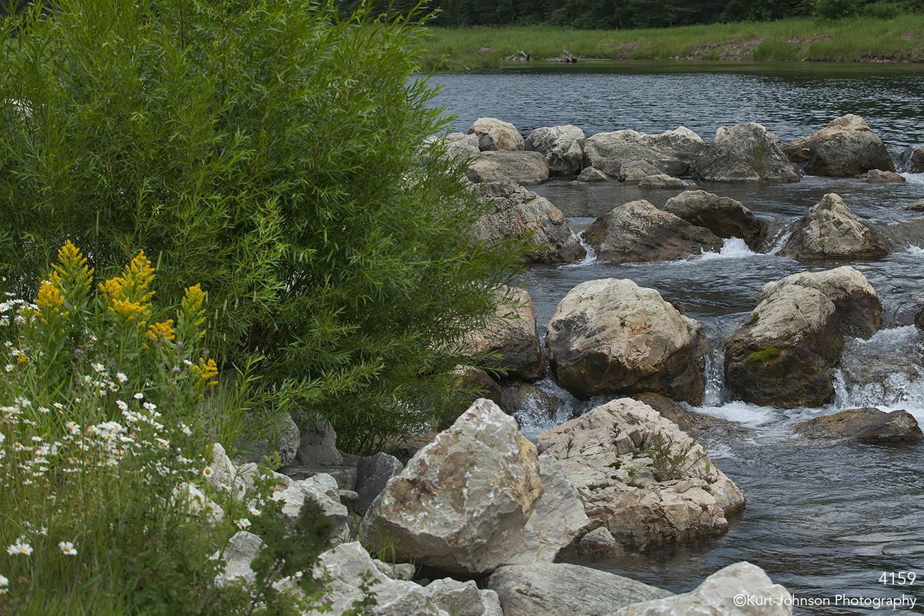 waterscape waterfall rocks water grasses