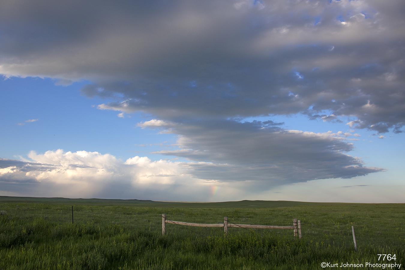 landscape fence clouds field midwest
