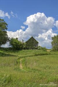 landscape field clouds barn grasses rural