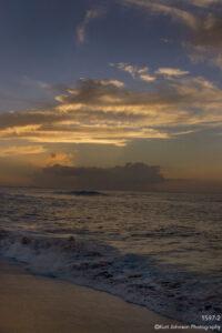 waterscape landscape shore waves ocean clouds sunset sand florida