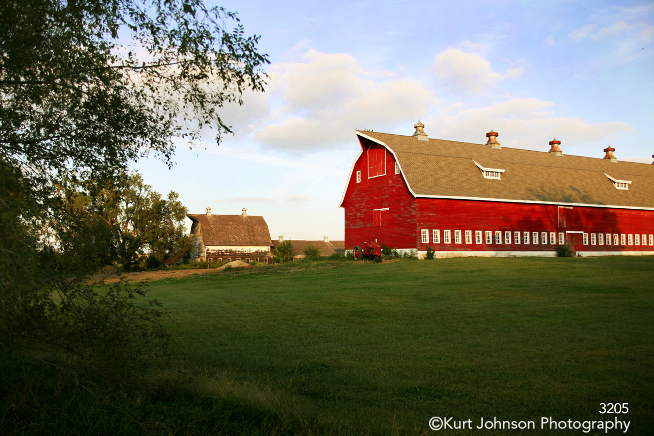 landscape farm field rural red barn green grass midwest