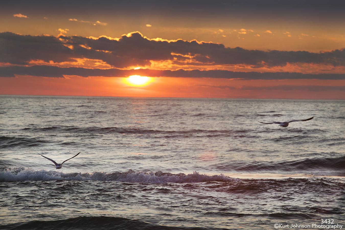 waterscape sunset birds waves ocean water clouds sky blue orange