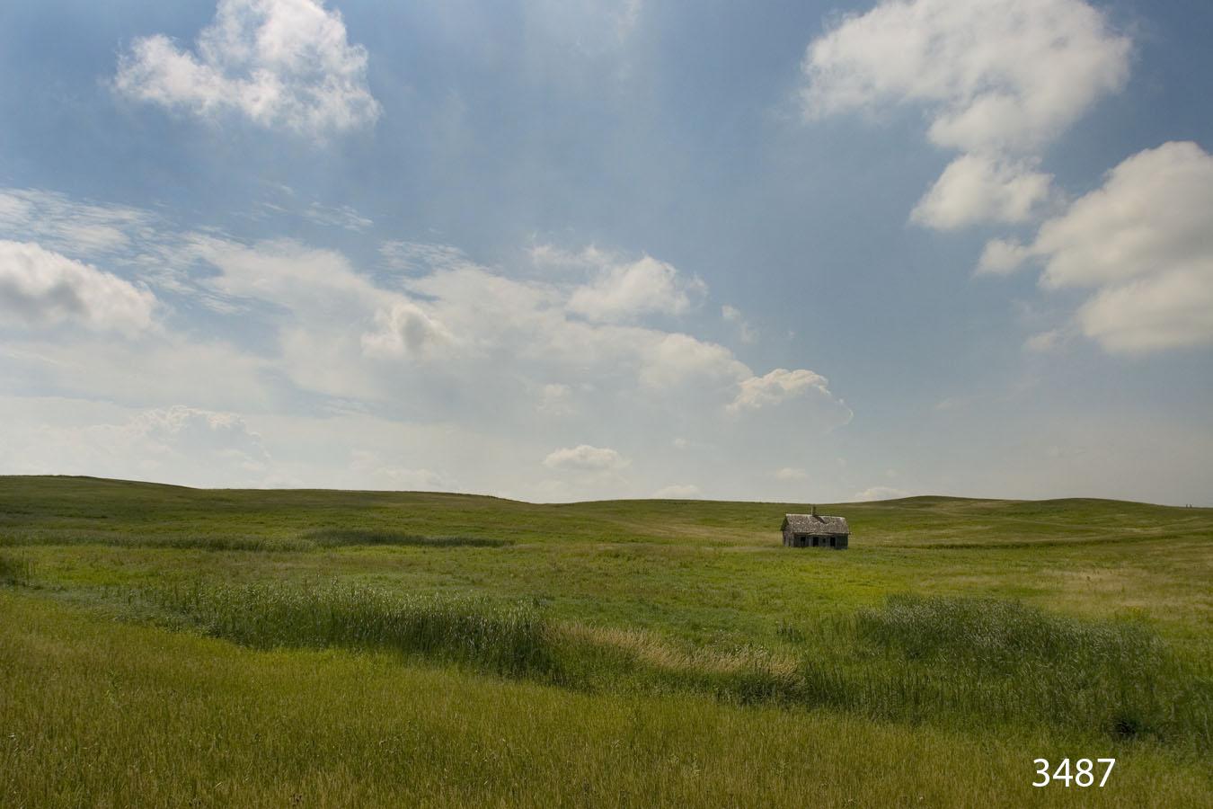 landscape grasses clouds cabin field midwest