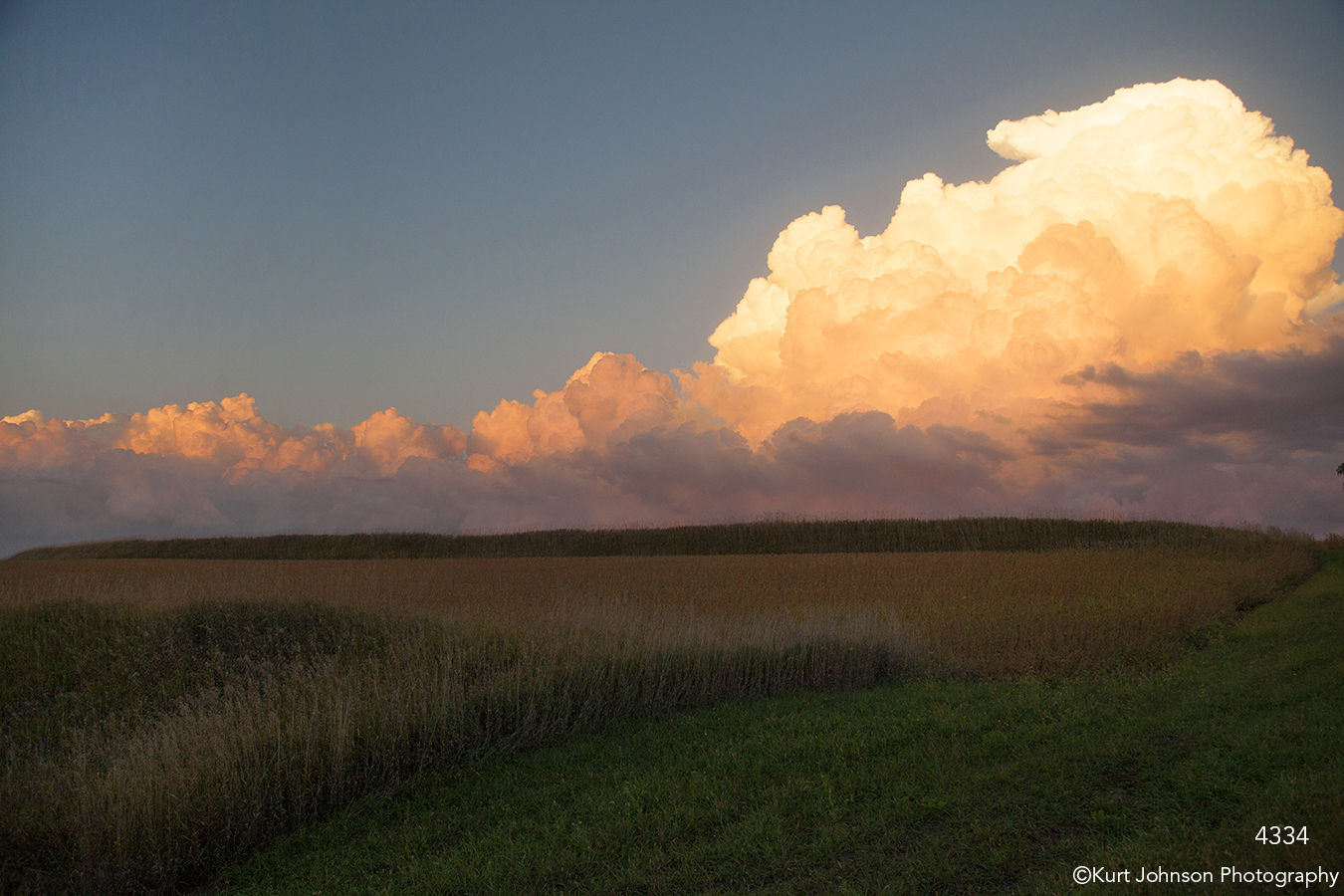 landscape grasses clouds sunset midwest fields