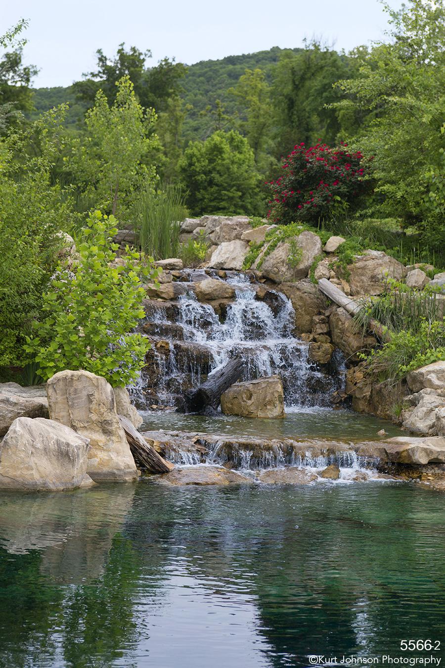 waterscape landscape water waterfall trees rocks