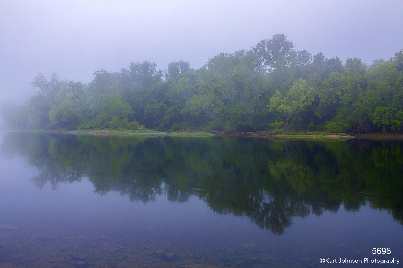 waterscape landscape shore river water purple fog missouri