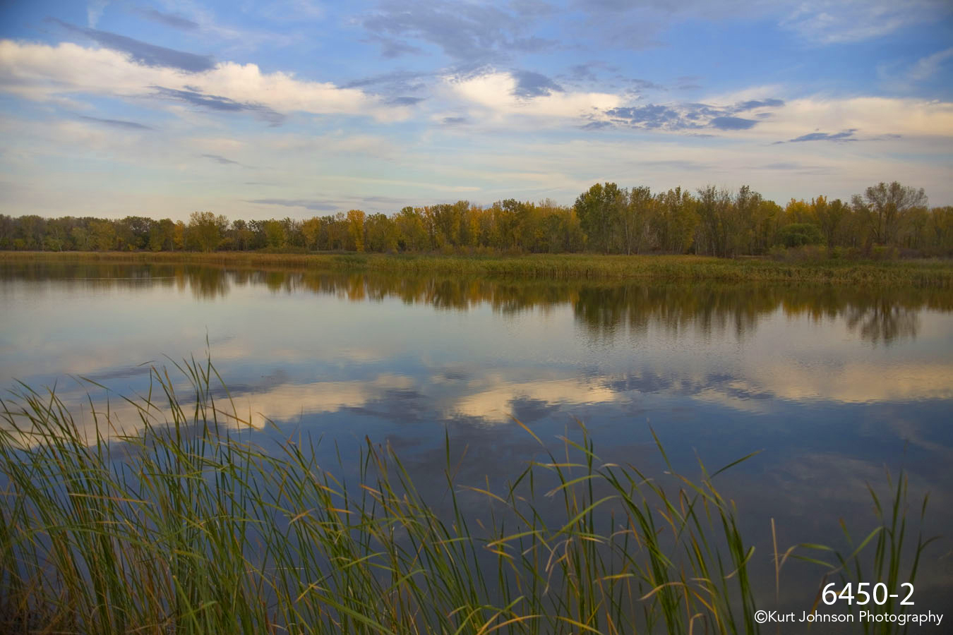 waterscape landscape river grasses trees clouds fall
