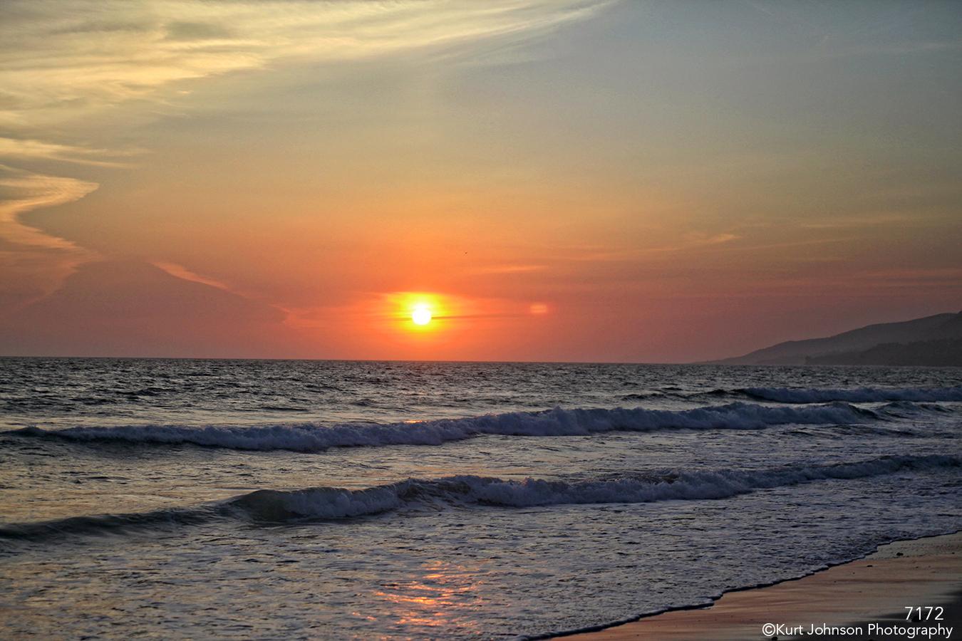 waterscape landscape beach shore ocean sunset light california