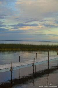 waterscape landscape grasses water dock sunset clouds blue