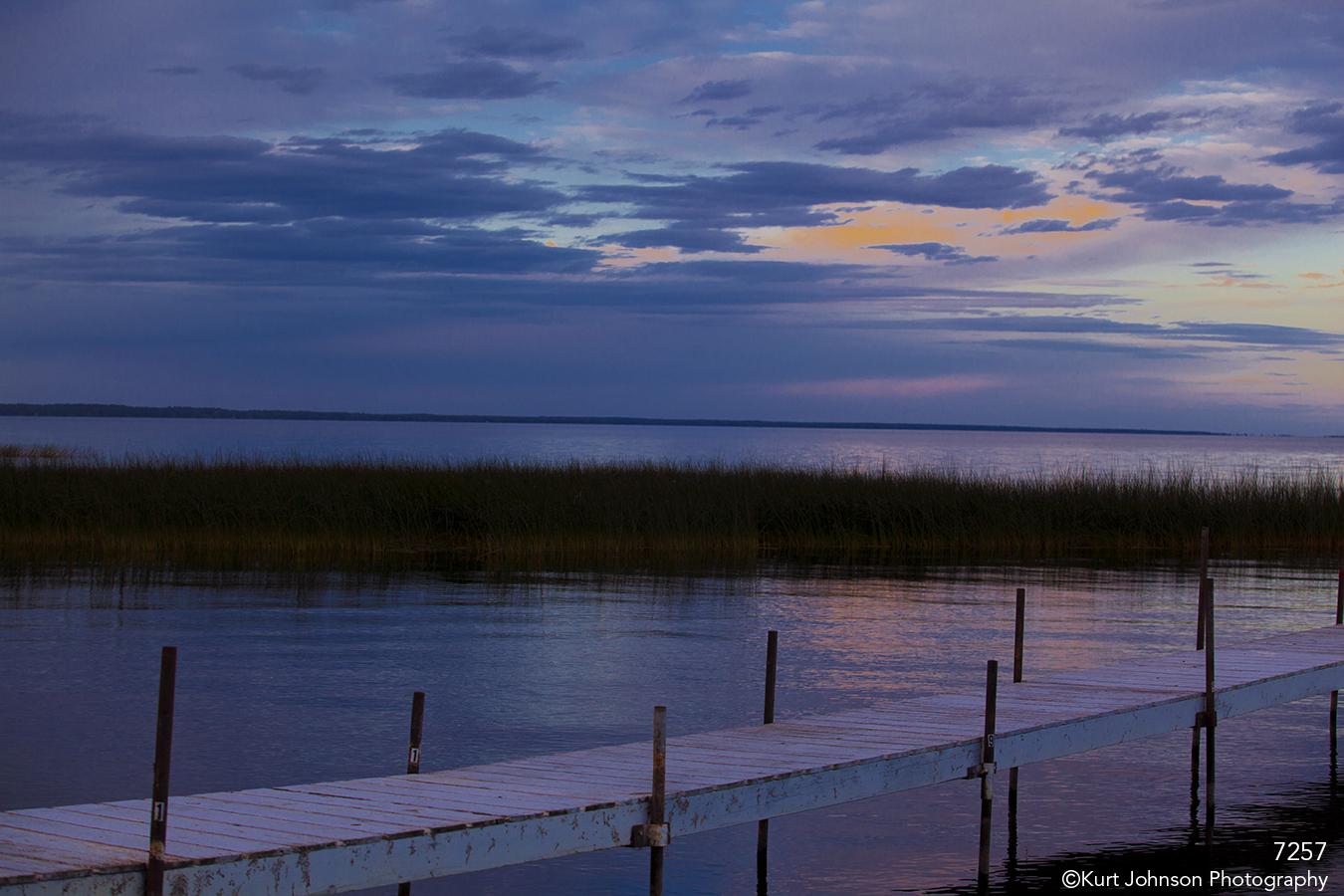 waterscape landscape grasses water dock sunset clouds purple