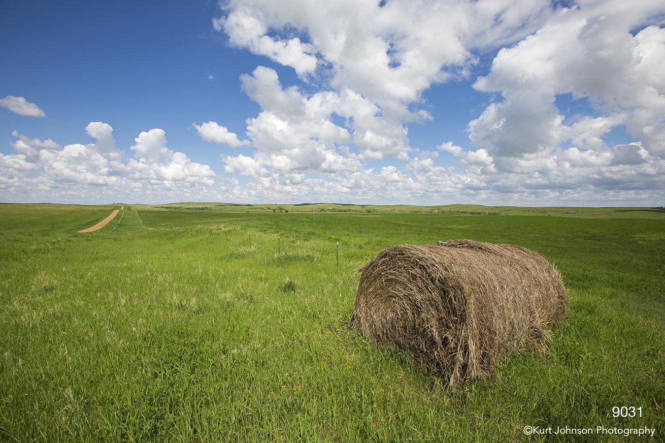 landscape clouds sky green grasses fields hay