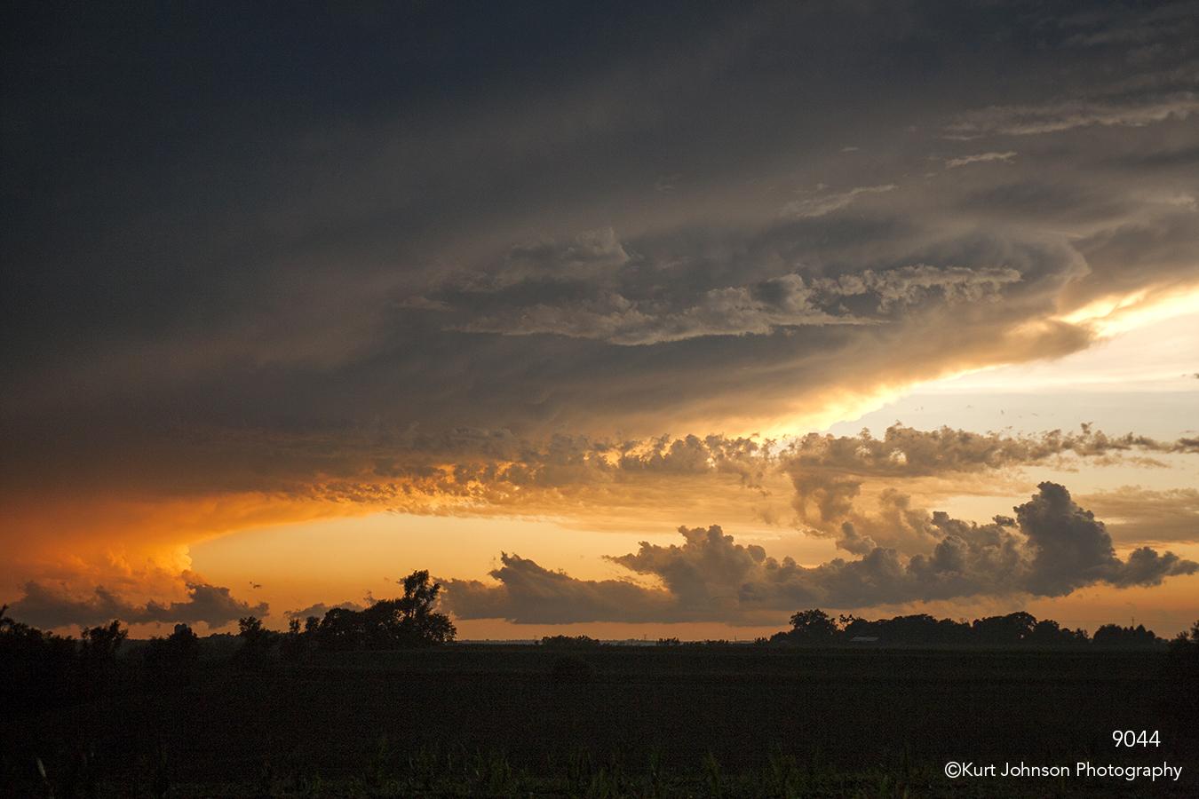 landscape clouds storm sunset orange