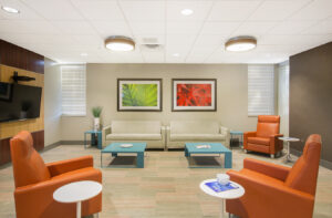 architectural healthcare framed art installation office lounge furniture interiors architecture