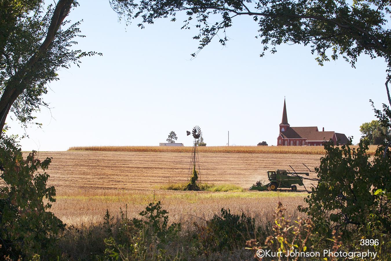 landscape windmill church rural midwest field harvest