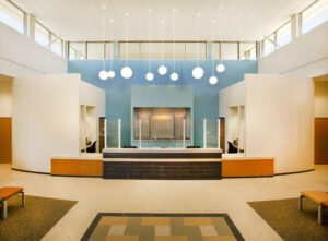 architectural architecture interiors healthcare interior design desk lobby waiting lighting