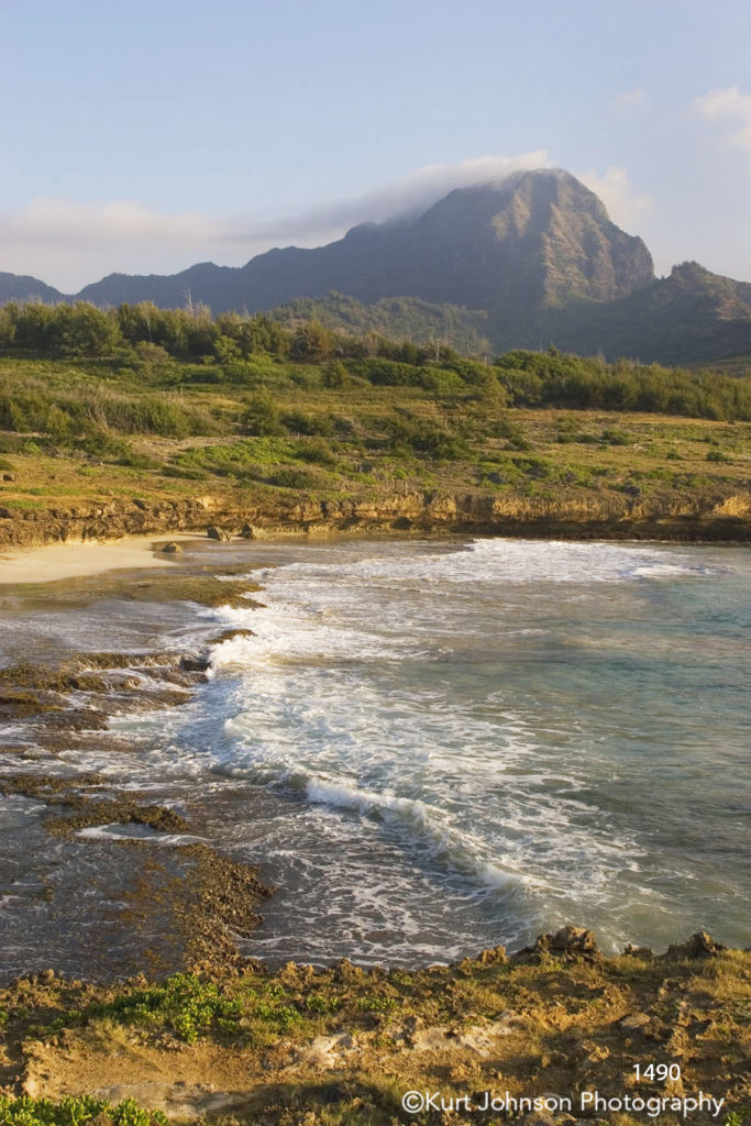 waterscape landscape waves shore mountains clouds sand hawaii