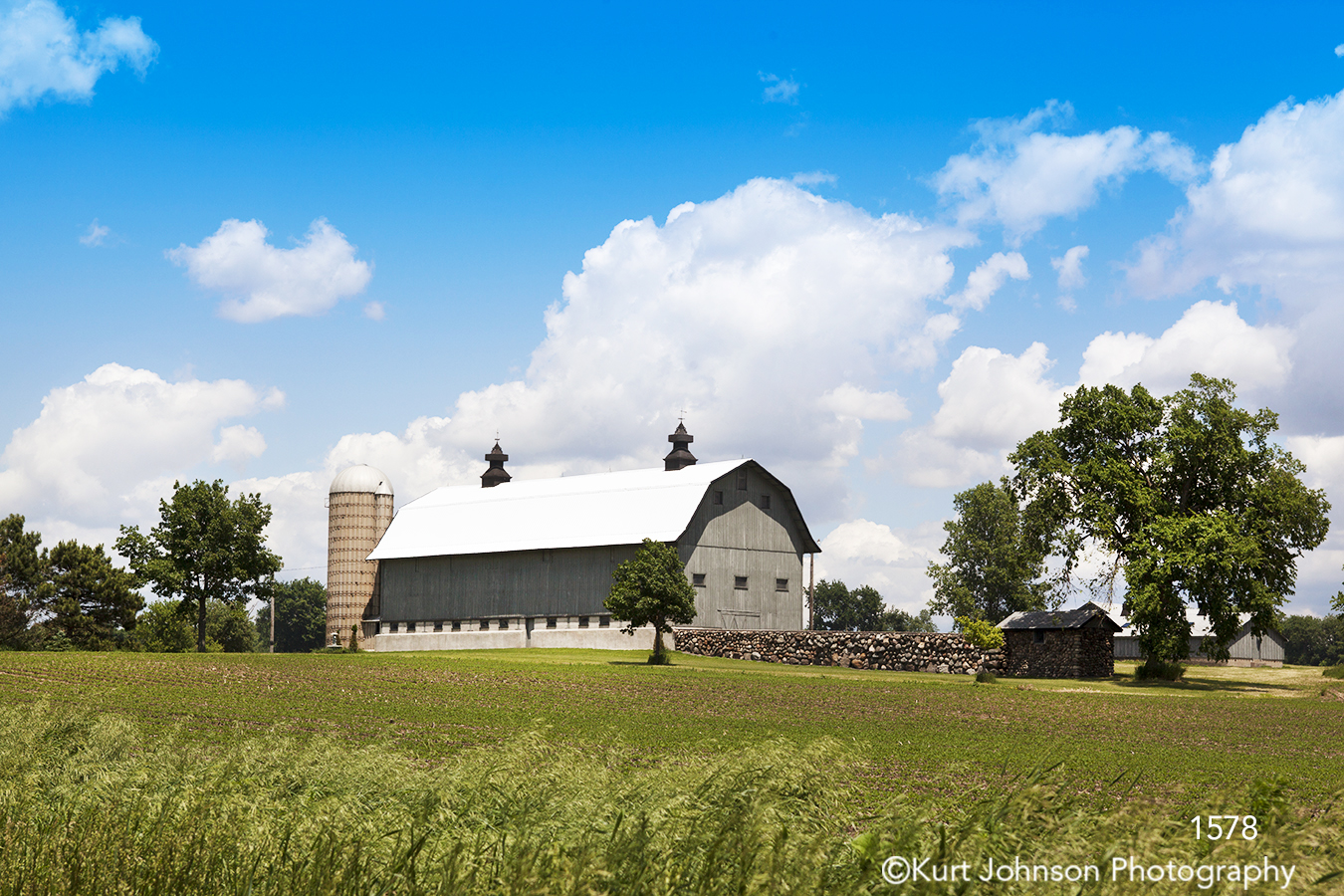 landscape barn rural farm clouds green grasses