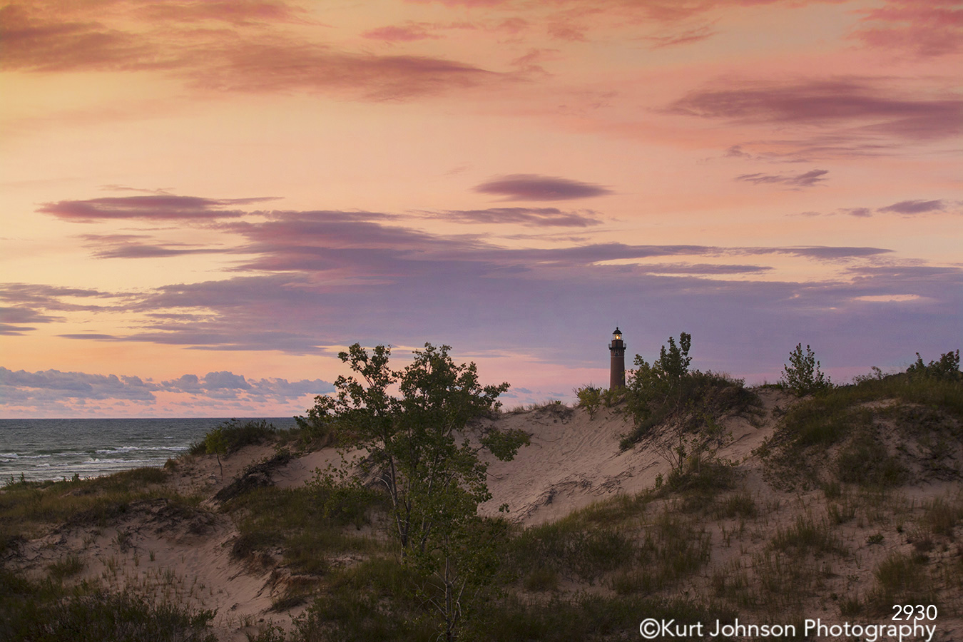 landscape water sunset lighthouse sand shore beach great lakes