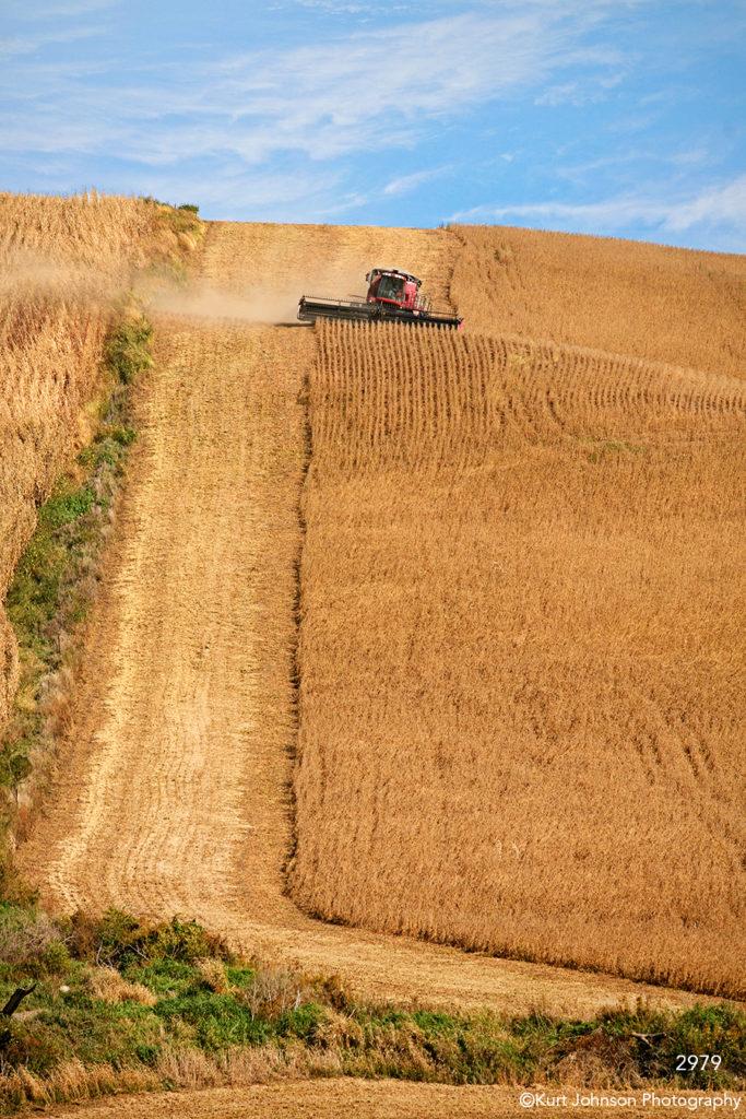 landscape crops field clouds harvest farm rural midwest