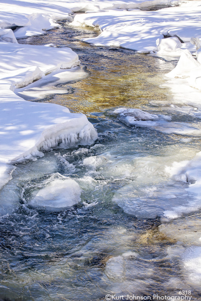 waterscape snow ice water flowing winter blue