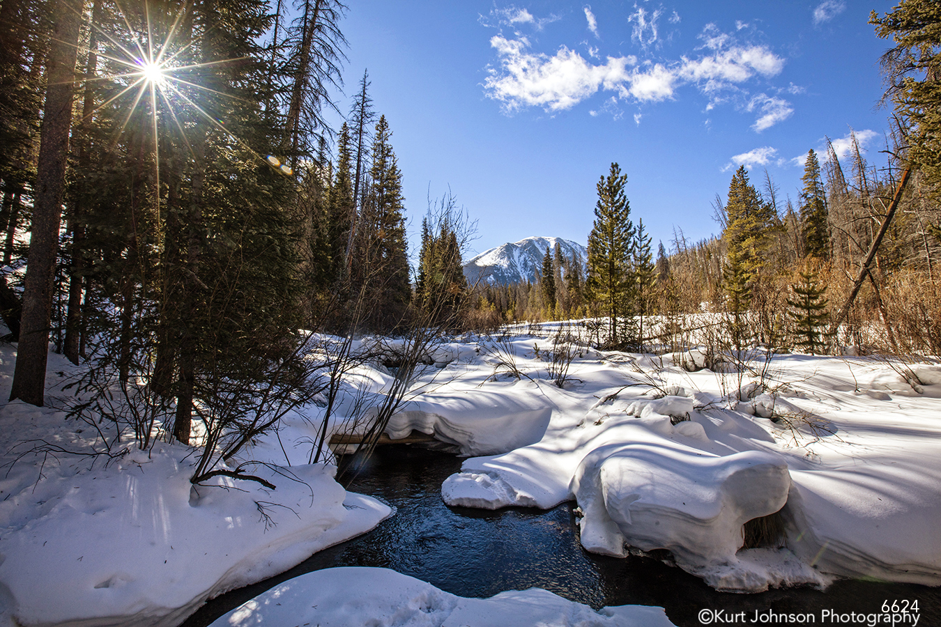 landscape waterscape snow winter colorado pine trees water