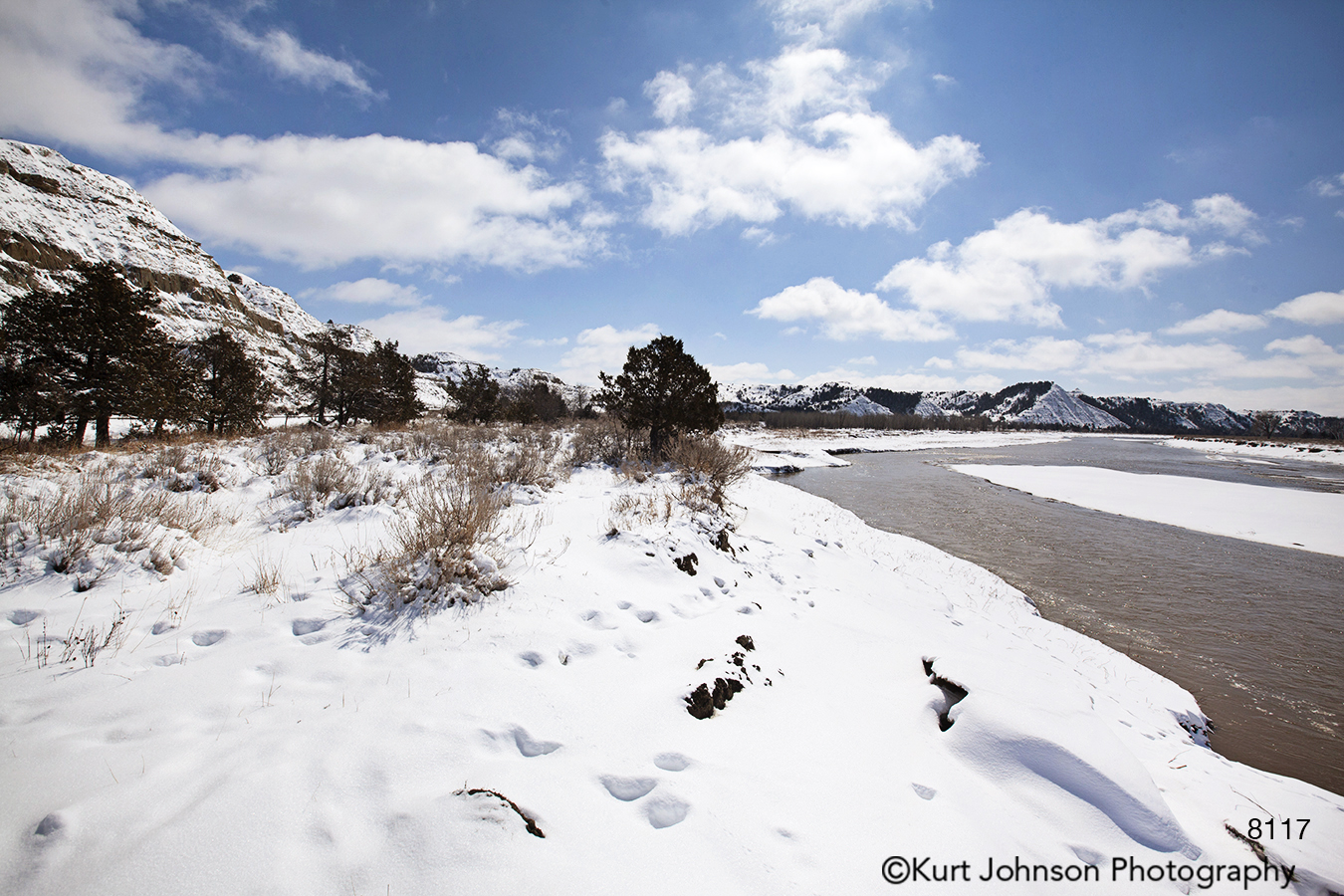 landscape waterscape mountains water snow winter clouds river dakota