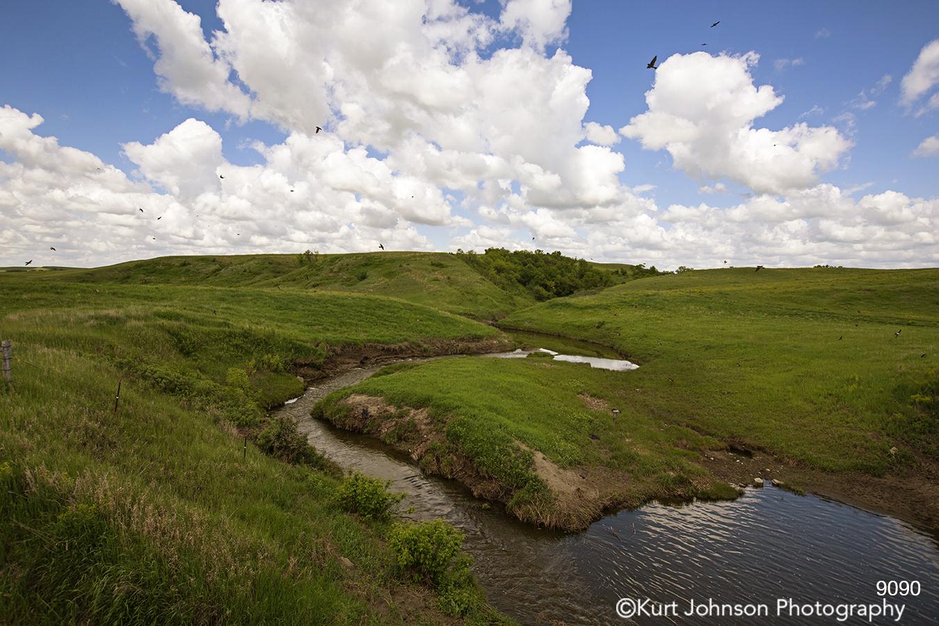 landscape water clouds river stream green grasses dakota birds