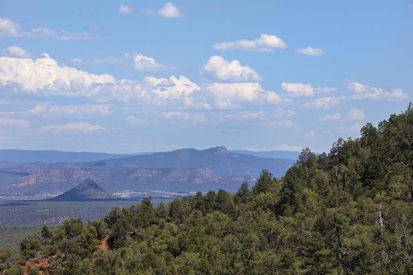 southwest landscape clouds desert mountains trees