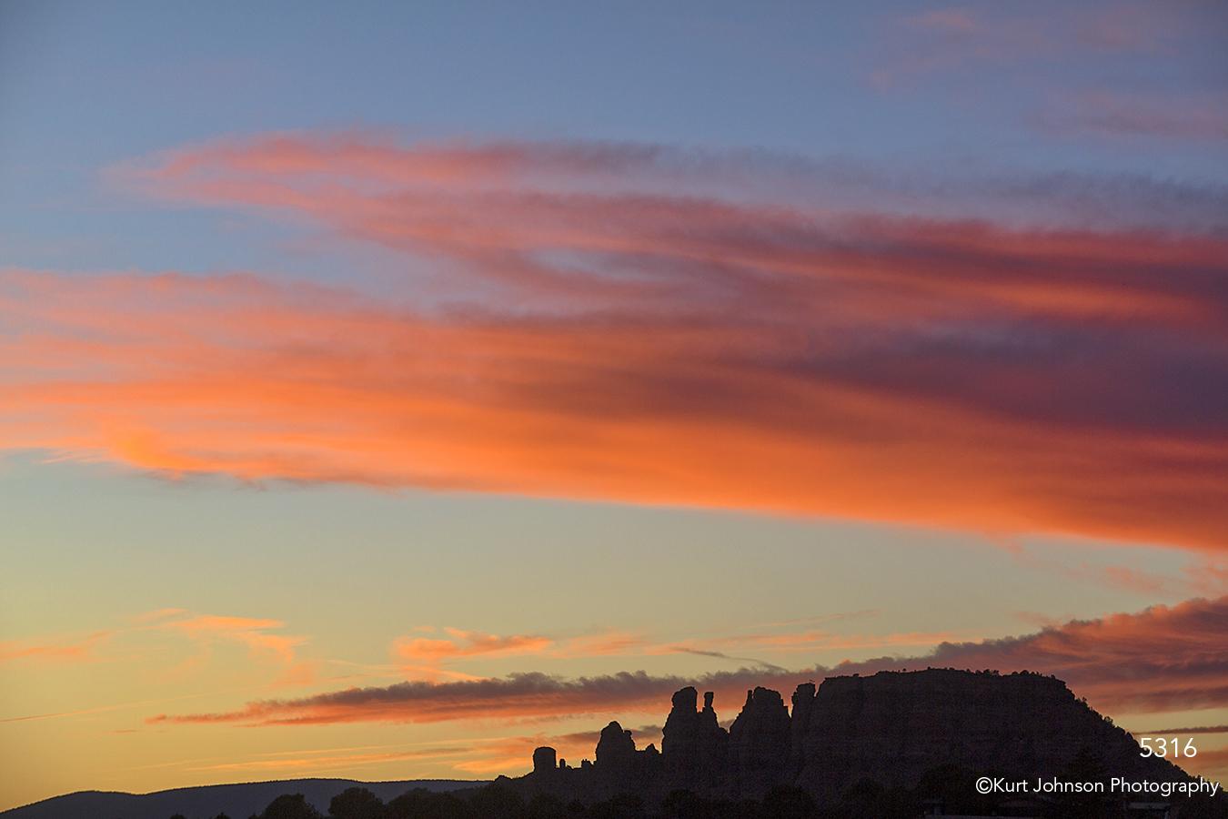 southwest landscape sunset desert trees pink