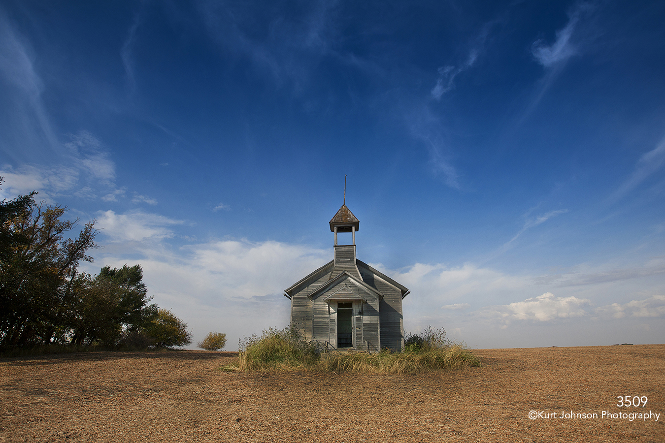 landscape midwest school house blue sky