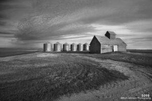 landscape black and white rural barn farm