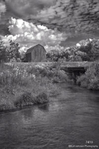 landscape black and white rural barn farm water