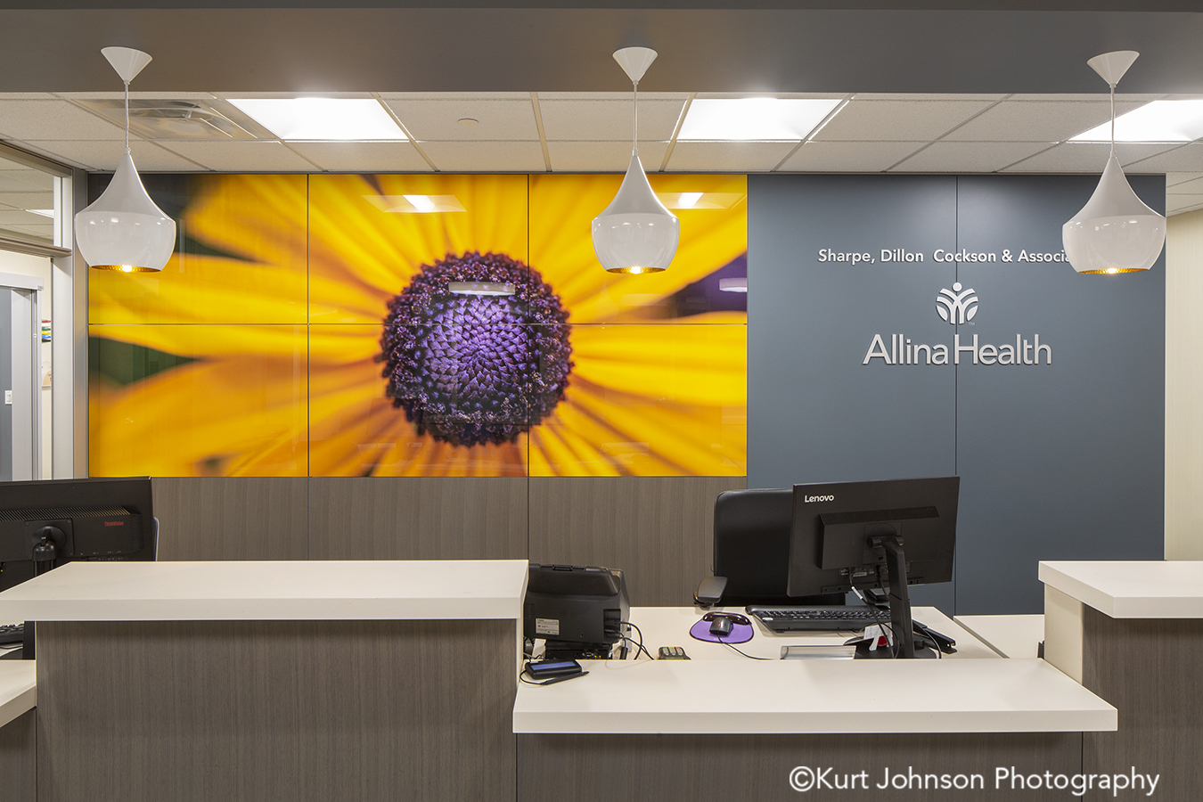 Allina Health art install healthcare installation orange flowers framed design DIRTT willow glass yellow flower botanical imagery healthcare