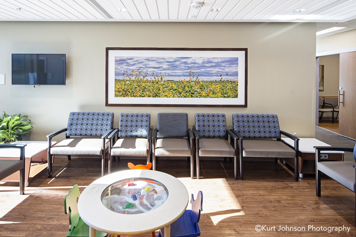 architectural interiors healthcare architecture interior design hospital clinic CHI lobby waiting installation framed art