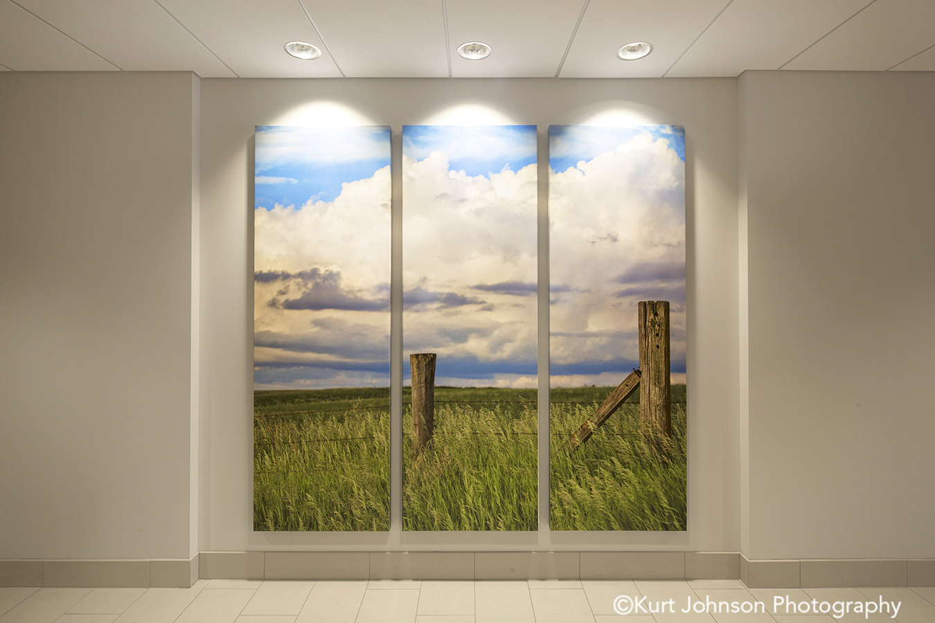 Brooking SD install gallery wrapped split canvas healthcare wall installation 3 panel triptych landscape