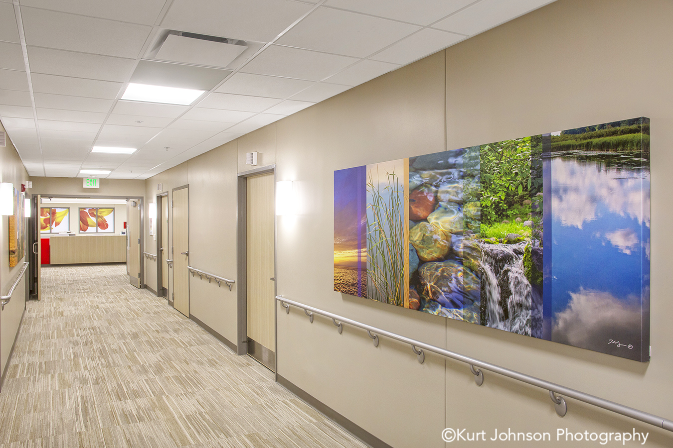 Regional Health Install gallery wrapped canvas landscape waterscape color slice art installation healthcare design