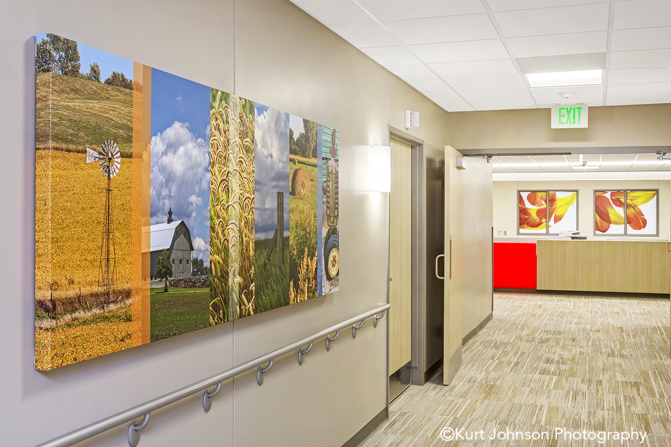 Lexington Regional Health Center Lexington NE install gallery wrapped canvas color slices midwest