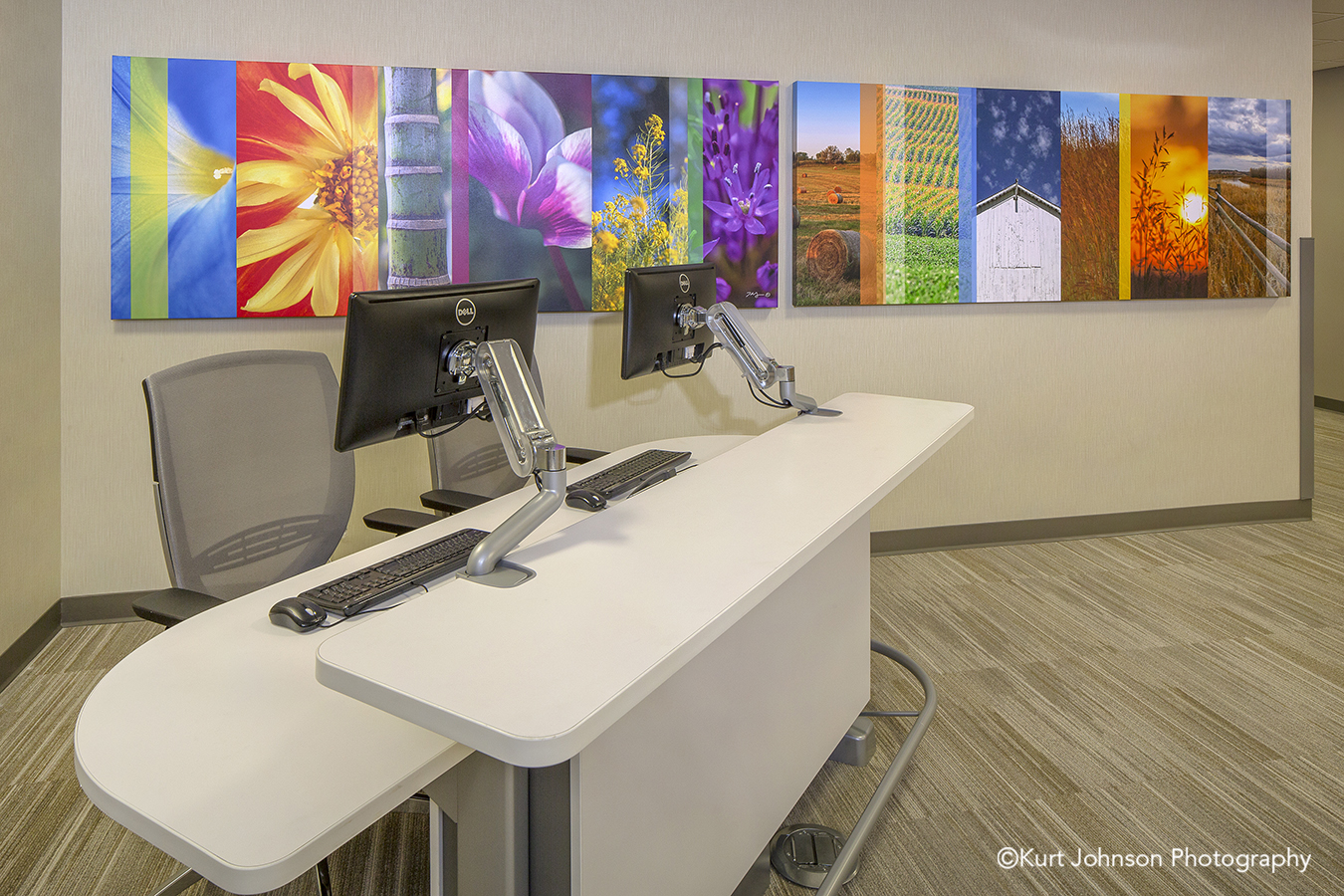 Lexington Regional Install gallery wrapped canvas color slices flower design healthcare design installation