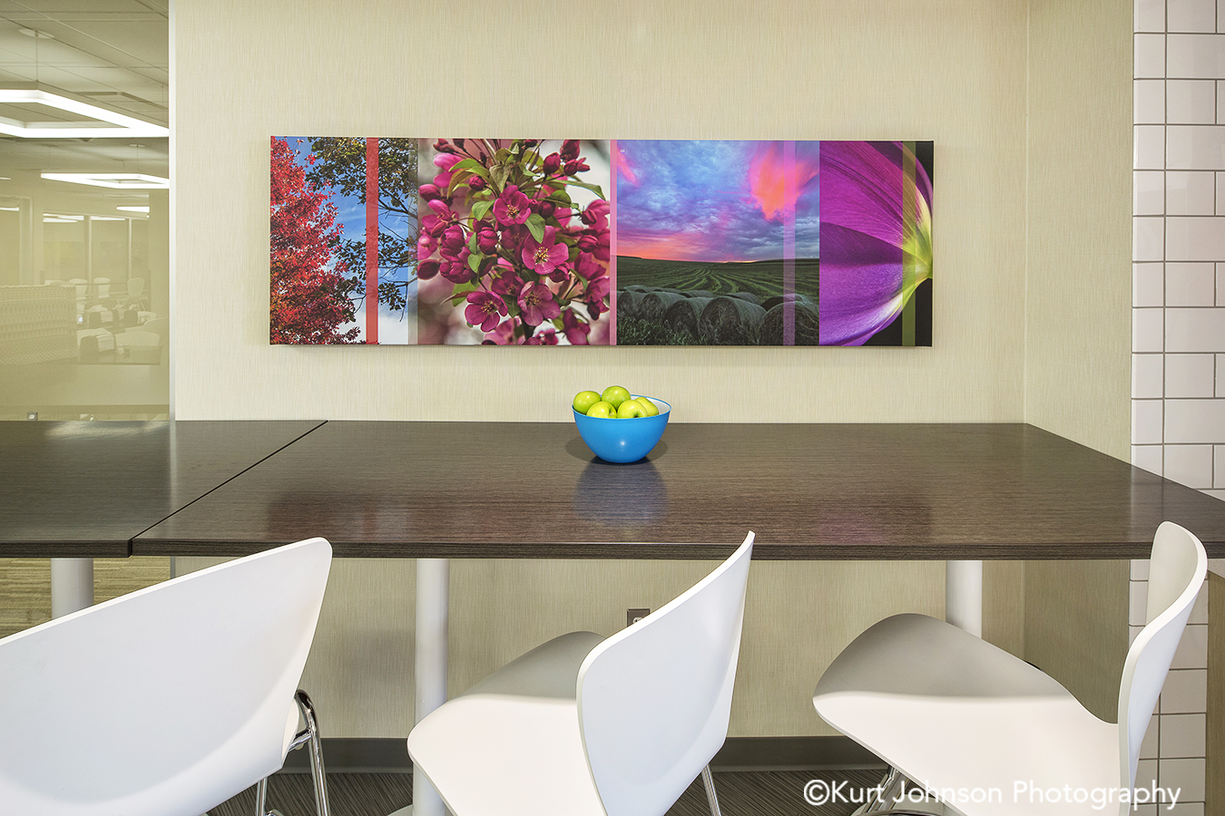 Regional Health Install gallery wrapped canvas landscape flower color slice art installation healthcare design