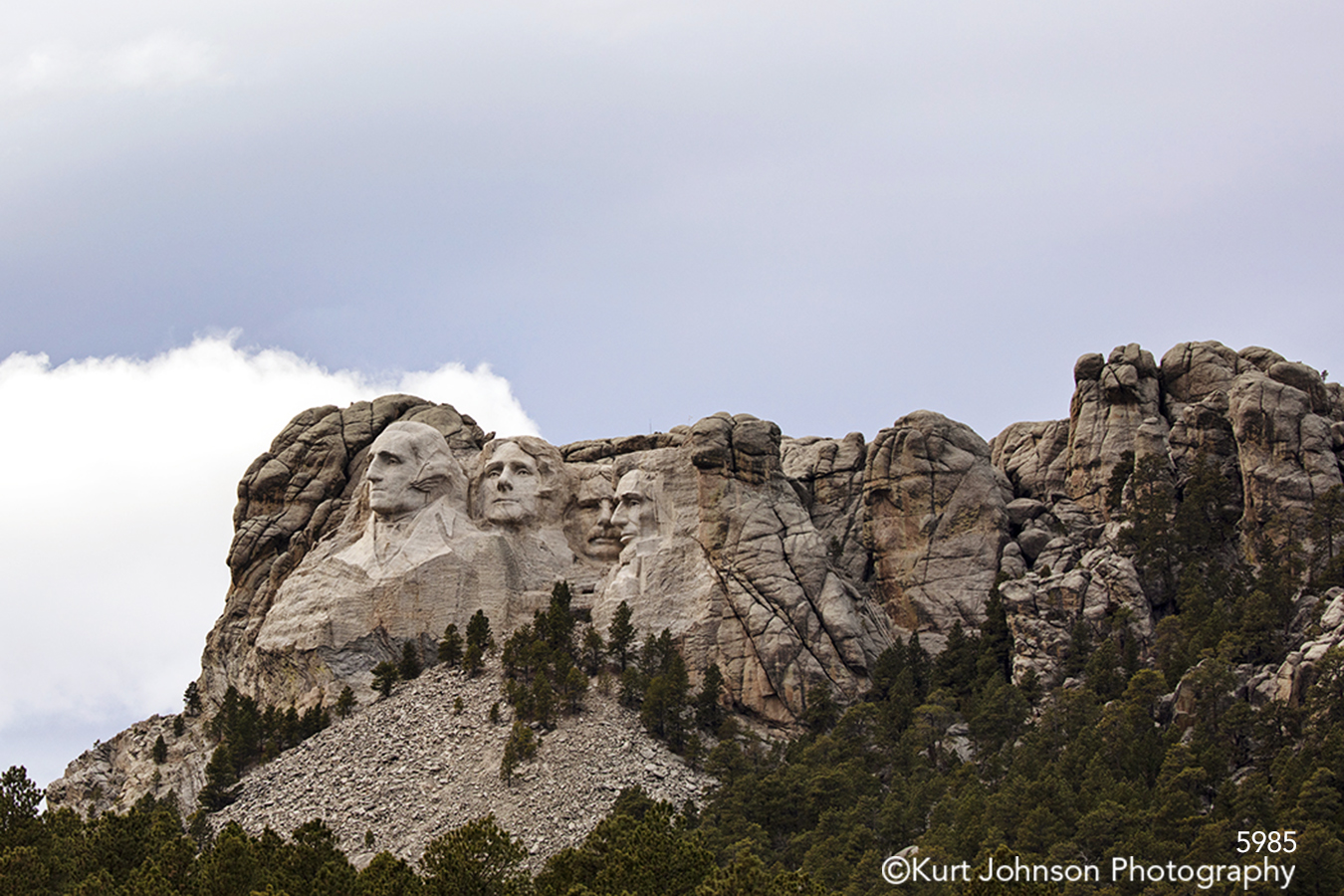 Dakotas Black Hills Mount Rushmore National Monument Dakotas South Dakota trees gray mountains sky clouds landscape