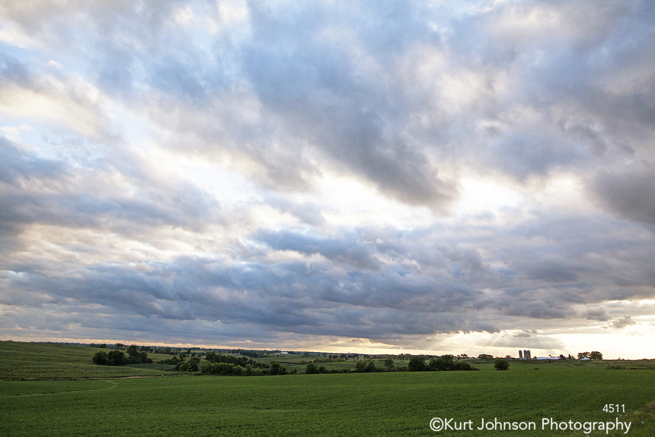 midwest landscape blue sky clouds green grass trees country field