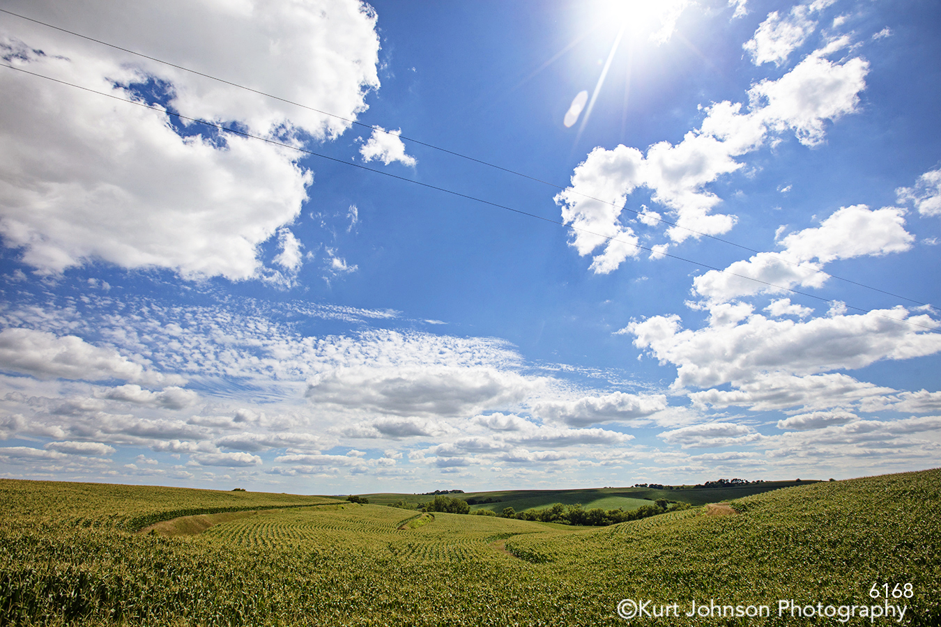 midwest blue sky clouds green grass landscape country field