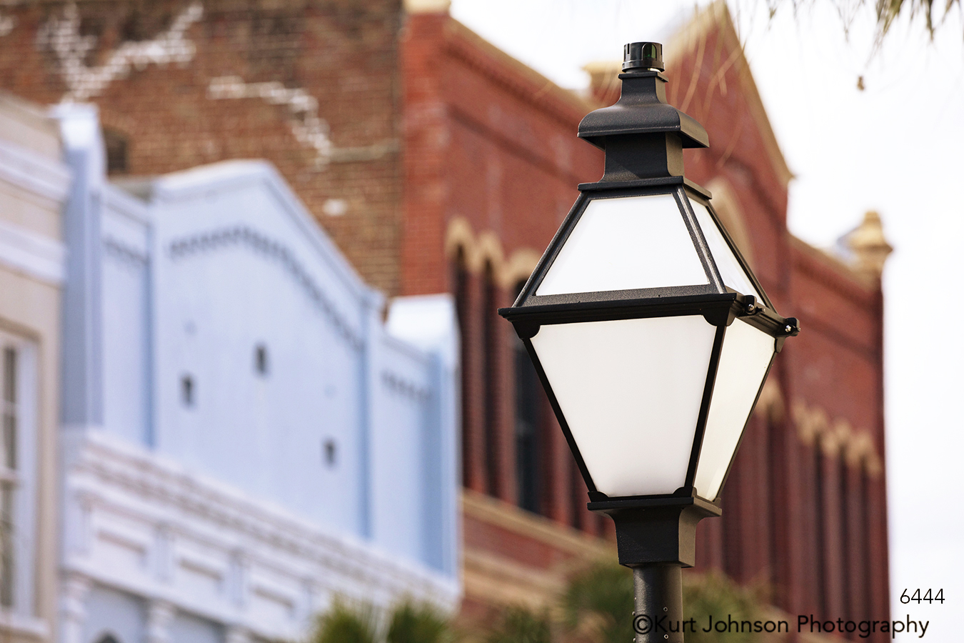southeast Charleston South Carolina red building architecture light lamppost