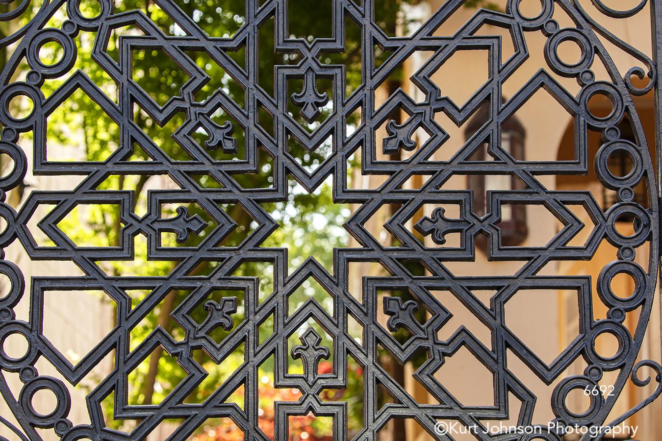 southeast Charleston South Carolina green black red pattern texture gate architecture