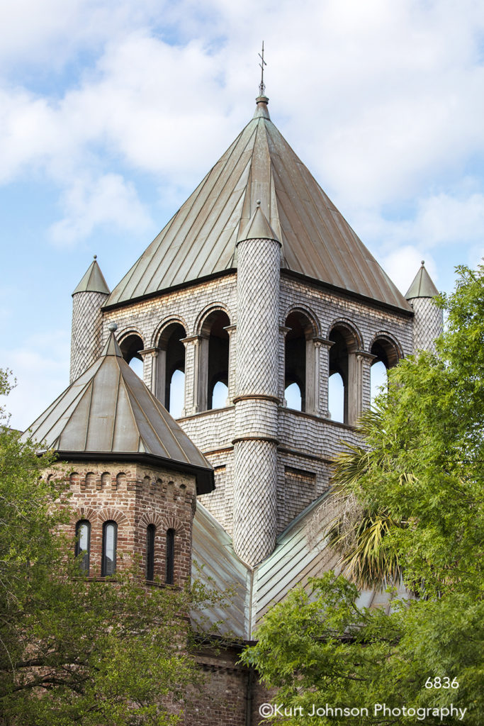 southeast Charleston South Carolina green trees red brick windows architecture building city