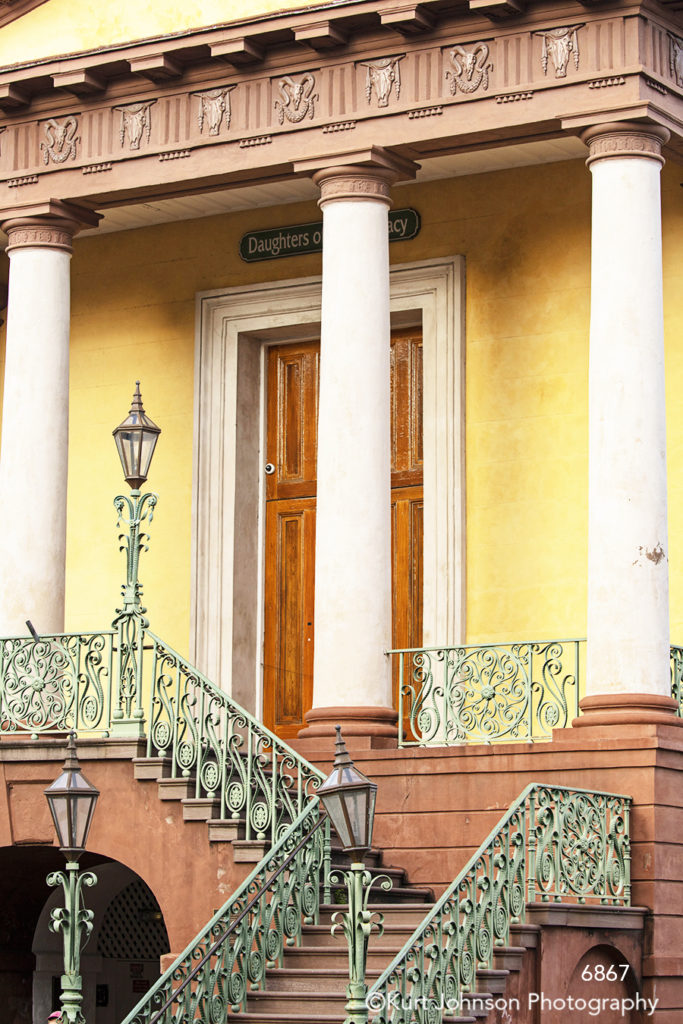 southeast Charleston South Carolina yellow orange building door architecture city lamp post