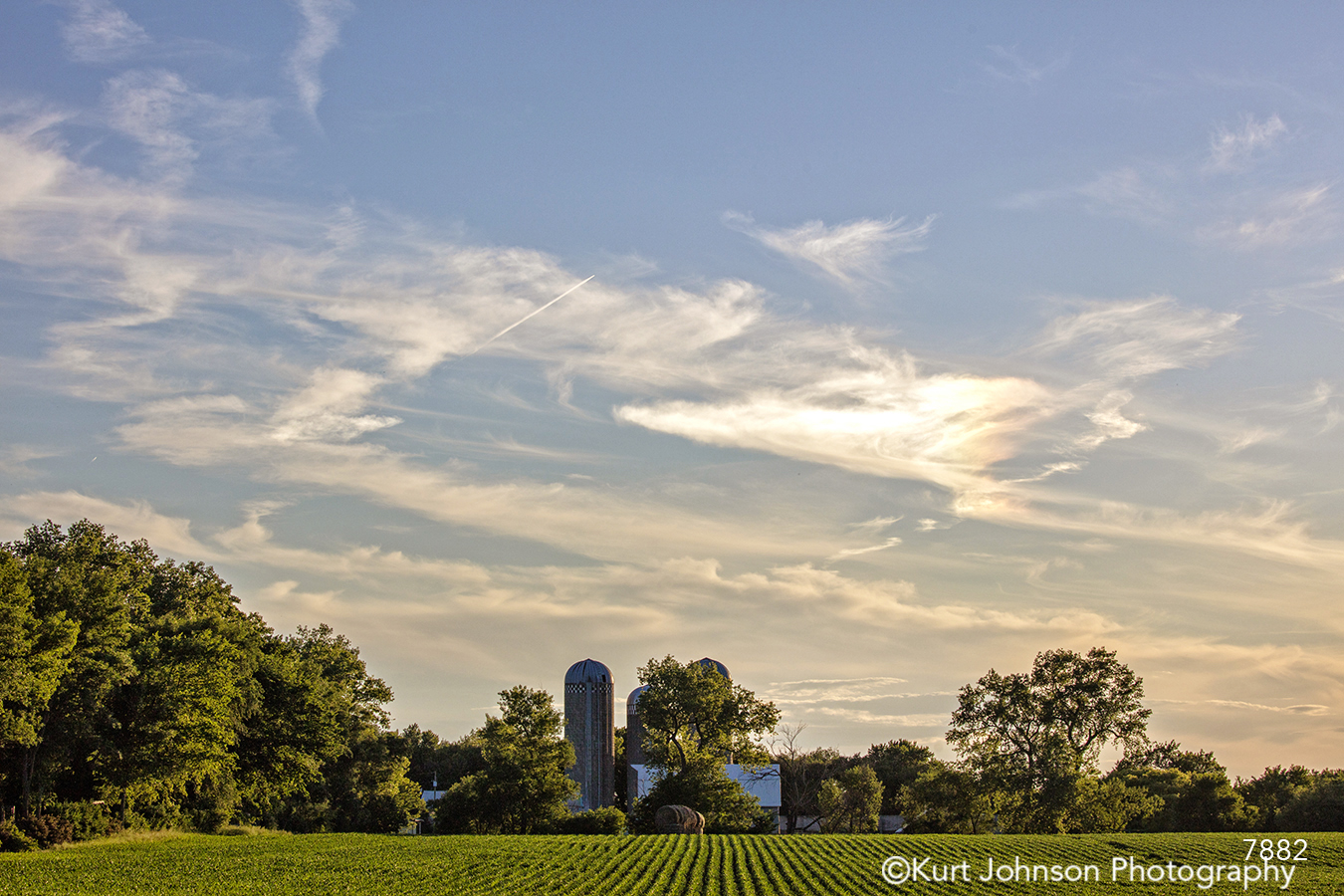 midwest country blue sky sunset farm barn field crops green grass
