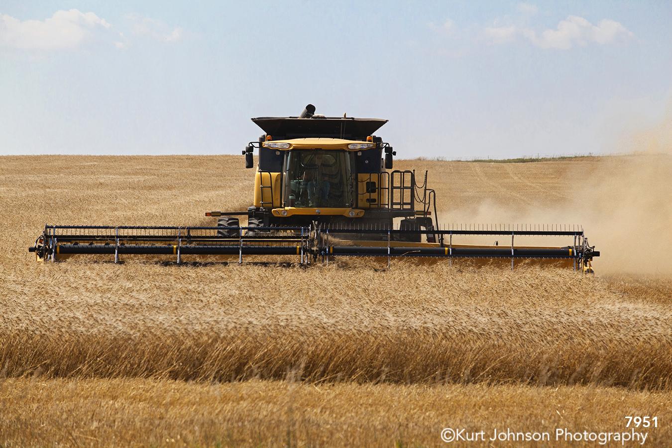 midwest farm tractor field tall grass grasses wheat blue sky